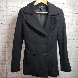 H&M Black Wool Peacoat Winter Jacket Coat Preppy